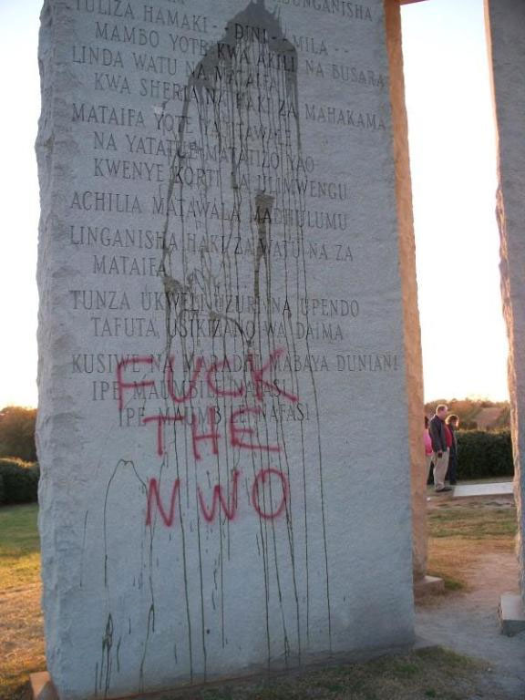 "Symbolic: just as the rest of the illuminati plans, the ""Georgia Guidestones"" suffer greatly under the growing awareness of the public"