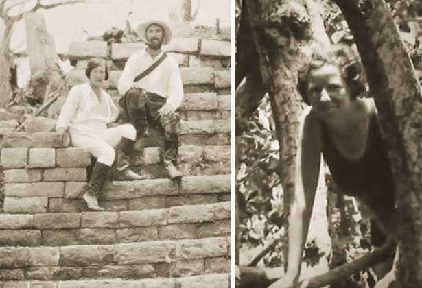 Left: explorer F.A. Mitchell-Hedges and his girlfriend and financier, Lady Richmond Brown, during an expedition in Central America in the 20s. Right: the young Anna Mitchell-Hedges came along too