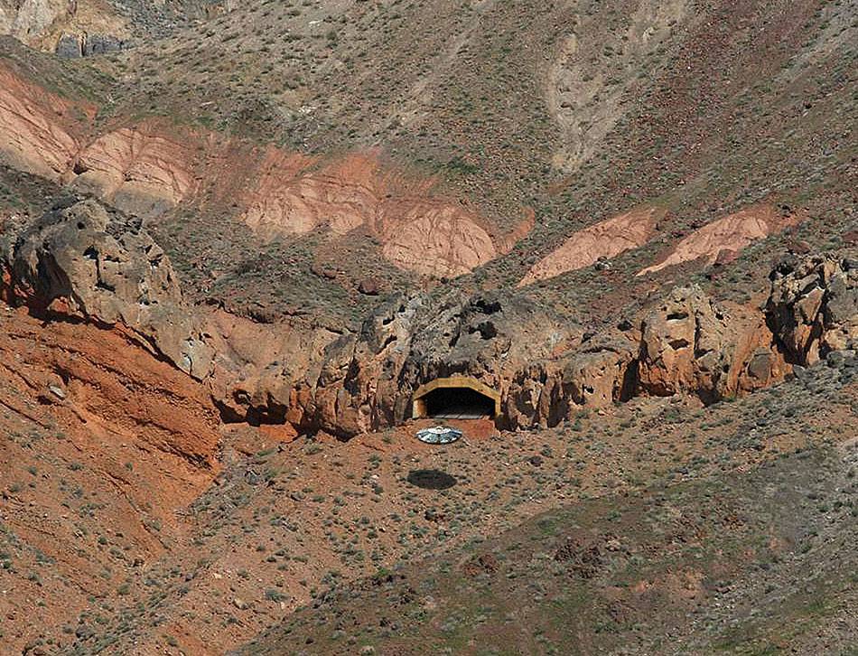 An American saucer flies into a secret underground base