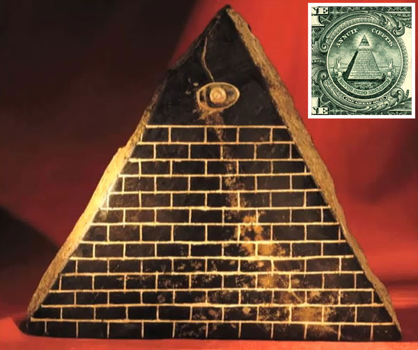 Work of art with illuminati pyramid from Ecuador