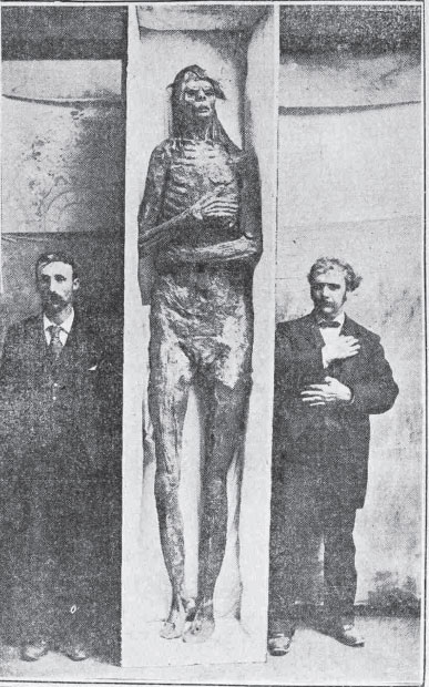 Bones and mummies of exceptionally tall people, of up to 3.5 metres tall, have been found in North America. At the beginning of the last century, the American newspapers were filled with this news