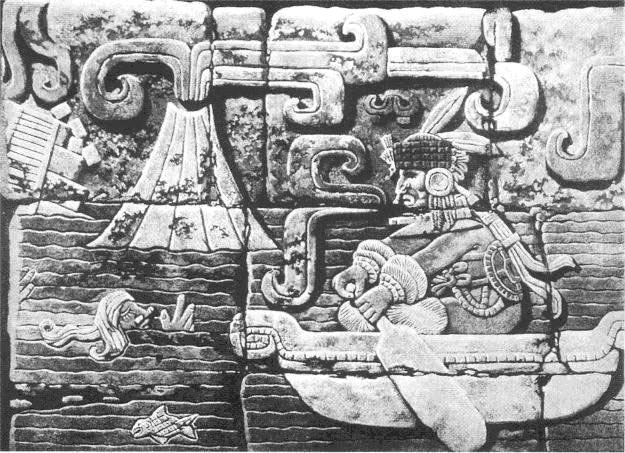 This work of art was once part of the old Maya city of Tikal, in Guatemala. It probably illustrates the demise of Atlantis. Since this does not fit the prevailing picture, a German archaeologist took it to Germany, where it was