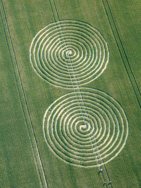 Crop circle with a double spiral, found in Chaddenwick Hill in Wiltshire, on 13 July 2011