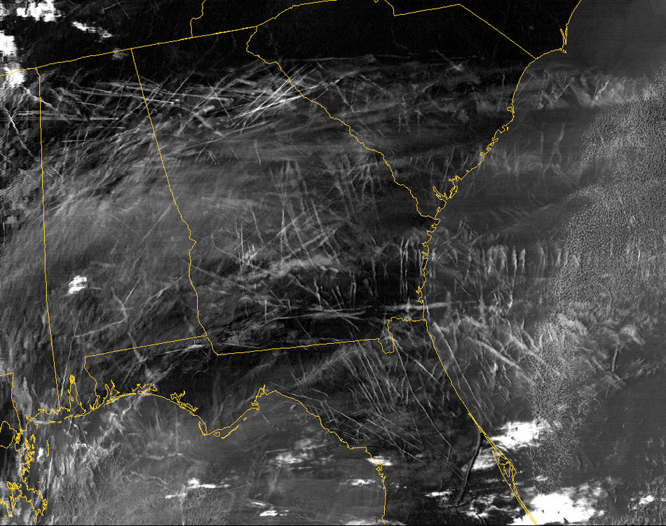 Satellite photo of chemtrails above southeast America