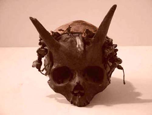 Изображение: рогатые черепа людей