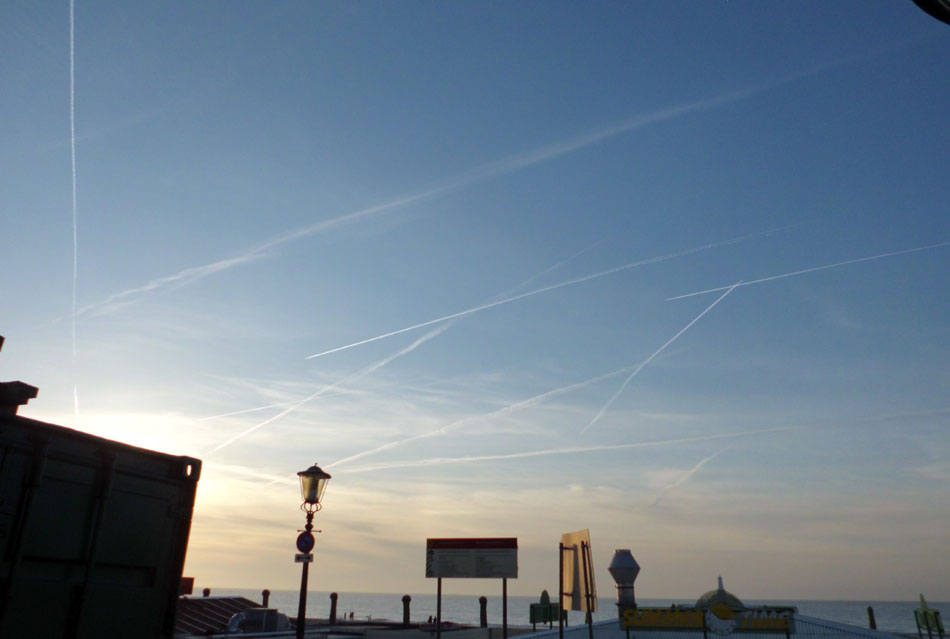 Chemtrails above the North Sea near the Dutch town Scheveningen