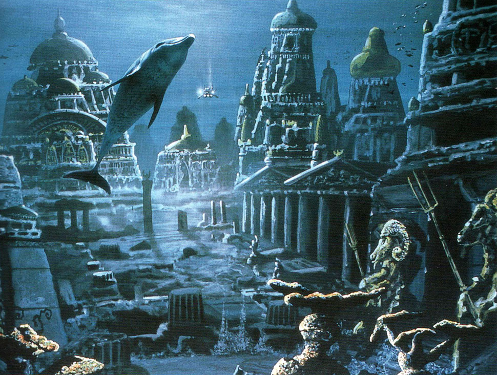 Painters and songwriters like to depict Atlantis as a sunken city which you could easily inhabit if it weren't under water. Unfortunately the destruction was more severe than that. Only the extremely strong and earthquake-resistant pyramids sometimes survived the destructions