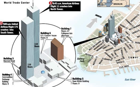 Map of the Twin Towers and Building 7